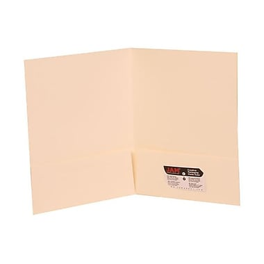 JAM Paper® Two Pocket Presentation Folders, White Linen, 100/Pack (95448B)