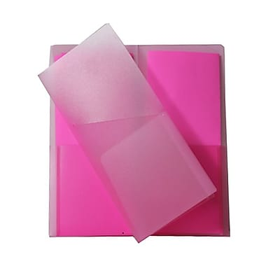 JAM Paper® Plastic Heavy Duty Mini Two Pocket Folders, Small, 4.25 x 9 1/8, Pink, 12/Pack (96451dg)