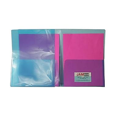 JAM PaperMD – Chemises de plastique transparentes à 2 pochettes, poids régulier, 9 x 12, bleu