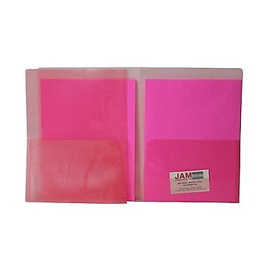 JAM PaperMD – Chemise en plastique standard transparent à deux pochettes, 9 x 12 po, rouge, 108/boîte
