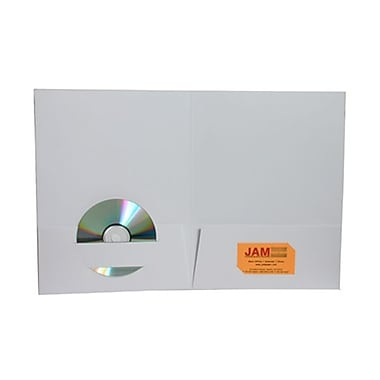 JAM Paper® Premium Paper Cardstock Two Pocket Presentation Folders, White, 12/Pack (6194703dg)