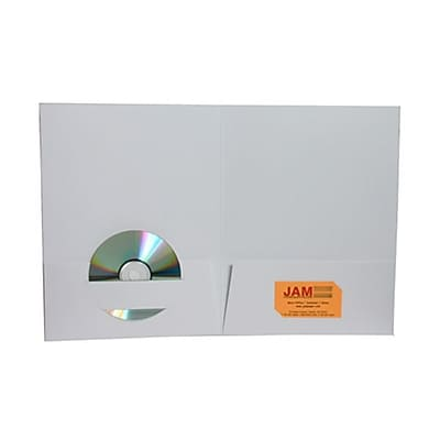 JAM Paper® Premium Paper Cardstock Two Pocket Presentation Folders, White, 6/pack (6194703D)
