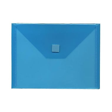 JAM Paper® Plastic Envelopes with VELCRO® Brand Closure, Index Booklet, 5.5 x 7.5, Blue Poly, 12/Pack (920V0BU)