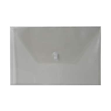 JAM Paper® Plastic Envelopes with VELCRO® Brand Closure, Legal Booklet, 9.75 x 14.5, Smoke Grey Poly, 12/Pack (219V0SM)