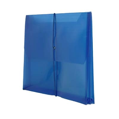 JAM Paper® Plastic Envelopes, 2 5/8 Expansion, Elastic Closure, Letter Booklet, 9.75 x 13, Blue Poly, 1/pk (218E25BU)