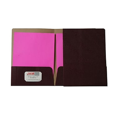 JAM Paper® Corrugated Fluted Folders, Burgundy, 6/Pack (87497D)