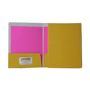 JAM Paper® Corrugated Fluted Folders, Yellow, 12/Pack (87499dg)