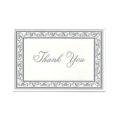 JAM Paper - Cartes de remerciement, blanc brillant avec bordure argentée, 104 cartes avec 100 enveloppes (BW91532)