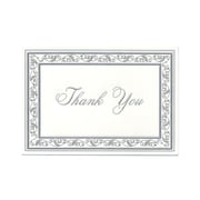 JAM Paper® Thank You Cards Set, Bright White with Silver Border, 104 Note Cards with 100 Envelopes (BW91532)