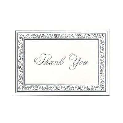 JAM Paper® Thank You Cards Set, Bright White with Silver Border