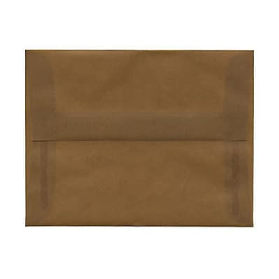 JAM Paper® A2 Invitation Envelopes, 4 3/8 x 5 3/4, Earth Brown Translucent Vellum, 25/pack (PACV601A)