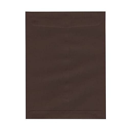 JAM Paper® 9 x 12 Open End Catalog Envelopes with Clasp Closure, Chocolate Brown Recycled, Bulk 1000/Carton (212816044B)
