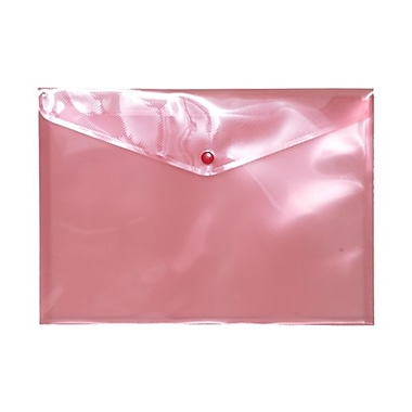 JAM Paper® Plastic Envelopes with Snap Closure, Letter Booklet, 9.75 x 13, Pink Poly, 12/pack (218S0PI)