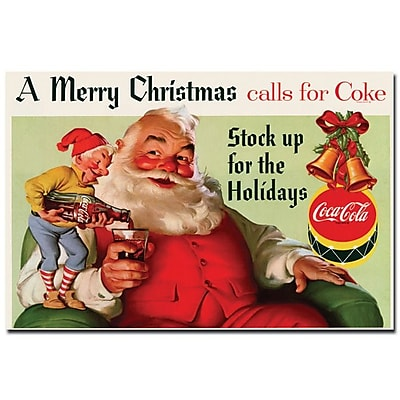Trademark Fine Art Coke Santa Merry Christmas w/ Elves-Inches