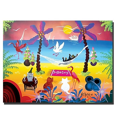 Trademark Fine Art SOBE Cats by Herbet Hofer-Ready to Hang Canvas! 24x32 Inches