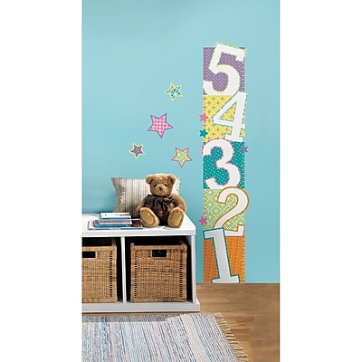 RoomMates Peel and Stick Wall Decal, Patterned Numbers Growth Chart
