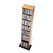 Prepac™ Slim Multimedia Storage Tower, Oak and Black
