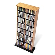 Prepac™ Double Multimedia Storage Tower, Oak and Black