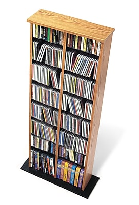 Prepac™ Double Multimedia Storage Tower, Oak and Black