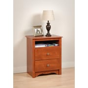 "Prepac™ 28"" Monterey Tall 2 Drawer Nightstand With Open Shelf, Cherry"