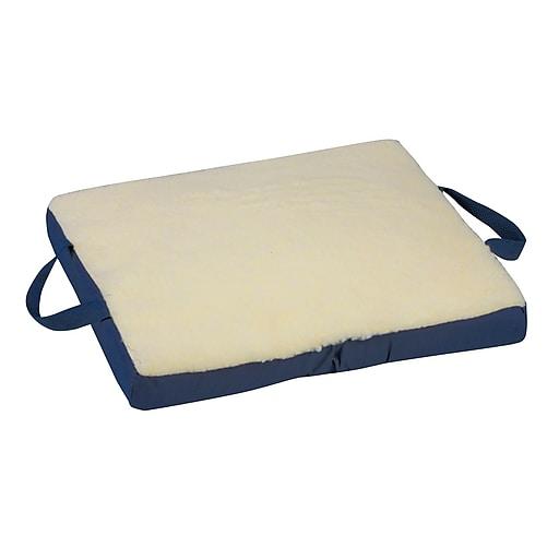 "DMI® 16"" x 18"" x 2"" Gelcare III Sheepskin Flotation Cushion, Fleece Cover, Cream"