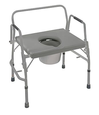 DMI® 500 lbs. Extra-Wide Heavy-Duty Drop-Arm Steel Commode, Gray