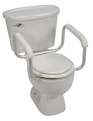 DMI® Pair of 250 lbs. Toilet Safety Adjustable Arm Supports, Silver/White