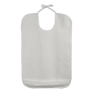 DMI® Terry Cloth Patient Protector With Crumb Catcher and Tape Ties, White