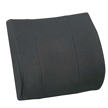 Briggs Healthcare - DMI Relax-A-Bac 555-7302-0200 Foam Lumbar Cushion with Strap and Polyester/Cotton Cover, Black