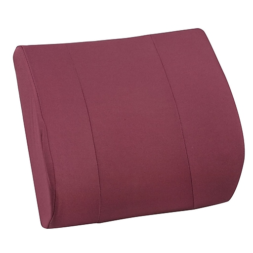 """DMI® Relax-A-Bac® 14"""" x 13"""" Foam Lumbar Cushion With Strap, Polyester/Cotton Cover, Burgundy"""