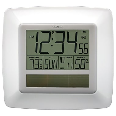 La Crosse Technology WT-8112U-WH Solar Atomic Digital Clock with Temperature & Humidity, White