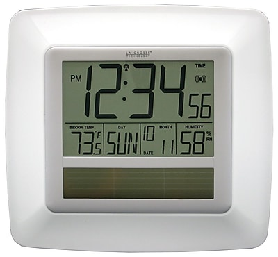 La Crosse Technology Digital Solar Atomic Clock with Thermometer and Hygrometer, White (WT-8112U-WH)