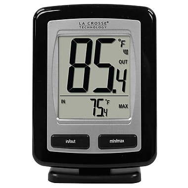 La Crosse Technology WS-9009BK-IT Wireless Temperature Station with MIN-MAX recorded values, Black