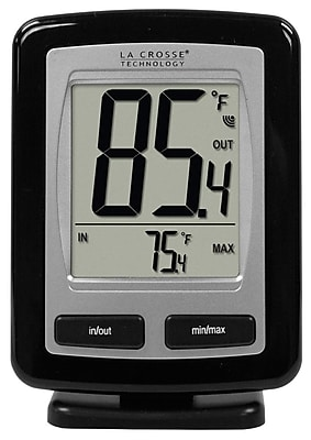 La Crosse Technology Wireless Temperature Station with MIN/MAX records, Black (WS-9009BK-IT)