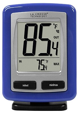 La Crosse Technology Wireless Temperature Station with MIN/MAX records, Blue (WS-9009B-IT)