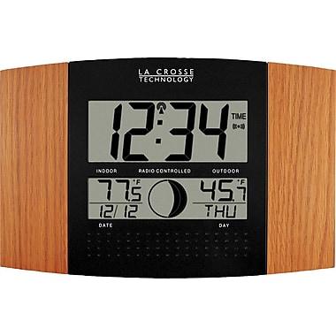 La Crosse Technology WS-8117U-IT-OAK Atomic Digital Clock with Temperature & Moon phase