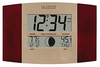La Crosse Technology Atomic Digital Wall Clock with Moon Phase and temperature, Cherry (WS-8117U-IT-C)