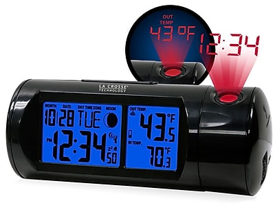 La Crosse Technology Atomic Projection Alarm clock with Indoor and Outdoor temperature (616-143)