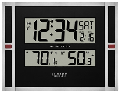 La Crosse Technology 11 Inch Digital Atomic Clock with IN/OUT Temperature (513-149)
