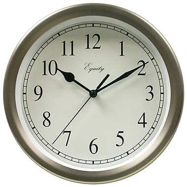 Equity by La Crosse 28283 8 Inch Brushed Titanium Metal Wall Clock
