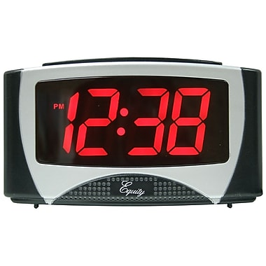Equity By La Crosse 30029 Plastic Digital Table Alarm Clock with LED Display, Black