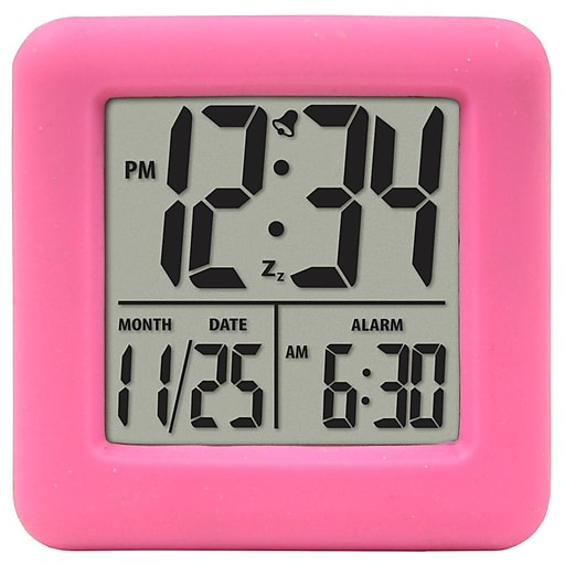 Equity by La Crosse Soft Pink Cube LCD Alarm Clock (70902)
