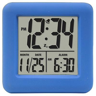 Equity by La Crosse Soft Blue Cube LCD Alarm Clock (70905)