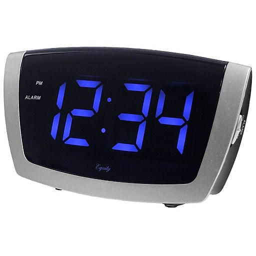 Equity By La Crosse 1.8 Inch LED Blue Digit Alarm Clock with USB charging port (75904)
