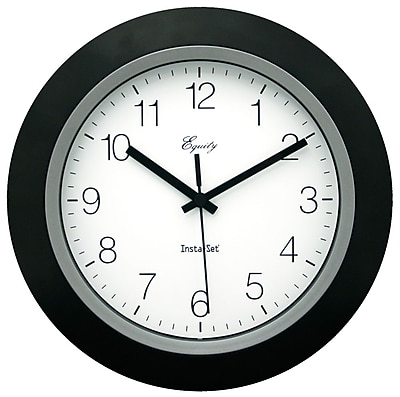Equity by La Crosse 10 Inch Insta-Set Black Analog Wall Clock (40222B)