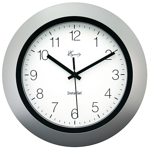 Equity by La Crosse 10 Inch Insta-Set Silver Analog Wall Clock (40222S)