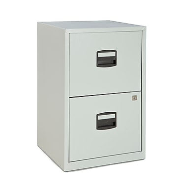 Bisley Two Drawer Steel Home or Office Filing Cabinet, Light Grey, Letter/A4 (FILE2-LG)