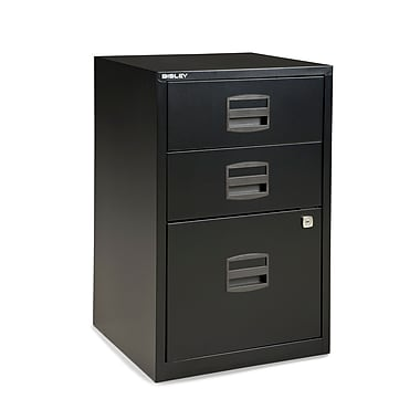 Bisley Three Drawer Steel Home or Office Filing Cabinet, Black, Letter/A4 (FILE3-BK)