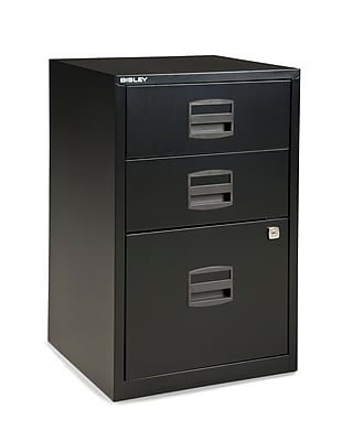 Bisley® 3-Drawer Vertical File Cabinet, Black, Letter/A4 (FILE3-BK)