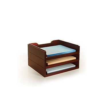 Bindertek Stacking Wood Desk Organizers, 3 Letter Tray Kit, Mahogany (WK4-MA)